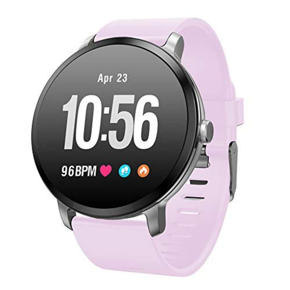 Pink Fitness Wrist, Smart Watch, Men's and Women's Outdoor Sports Smart Watch, Heart Rate and Blood Pressure Monitor, Waterproof Pedometer Ip68 for Android and iOS