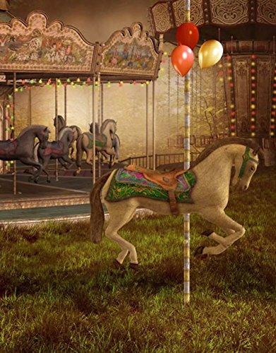 (Old Victorian Carousel Photo Backdrop with Horses and Balloons Princess Kids Photography Studio Background Printed Booth Party Prop 5×7)