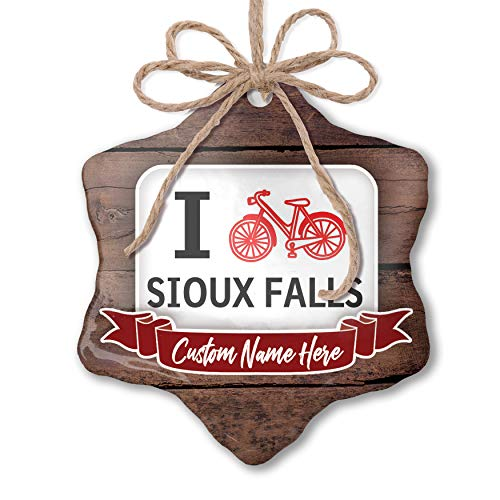 NEONBLOND Custom Family Ornament I Love Cycling City Sioux Falls Personalized Name ()