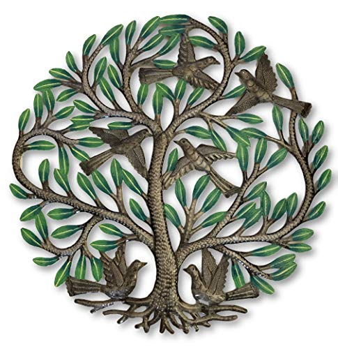 - Haitian Hand Painted Tree of Life Wall Decor, Global Art Made in Haiti, Oil Drum Metal Craft with Birds, Decoration for Kitchen or Anywhere in Home, 24 in. x 24 in. (Hand-Painted Tree)