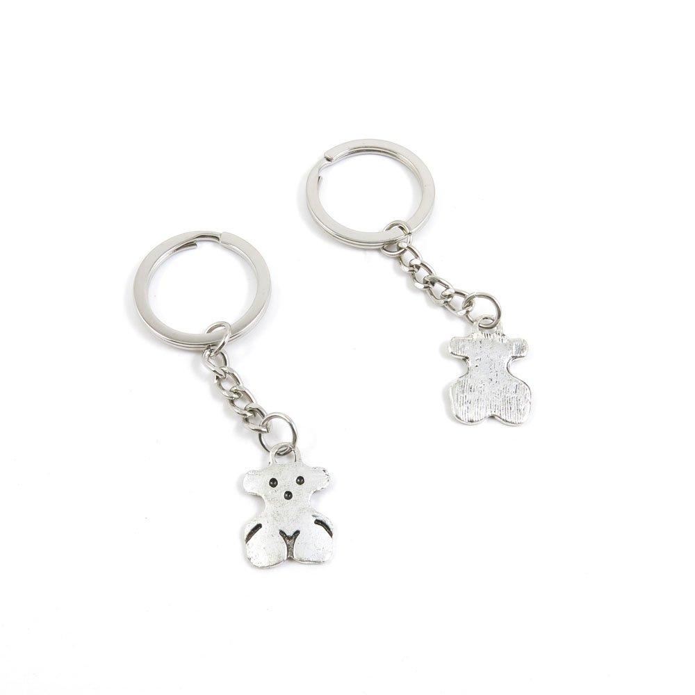 100 Pieces Keychain Door Car Key Chain Tags Keyring Ring Chain Keychain Supplies Antique Silver Tone Wholesale Bulk Lots Z1FJ2 Bear Winnie