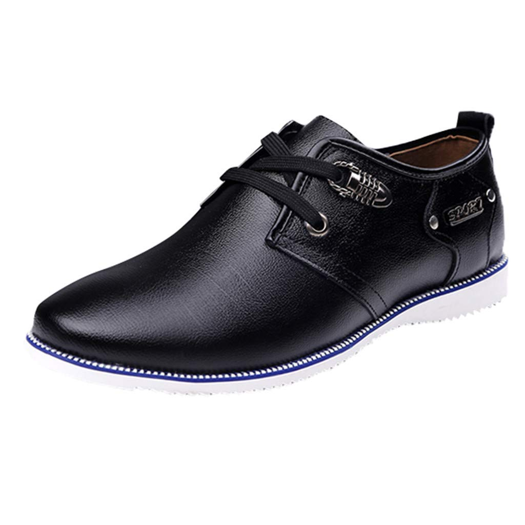 Respctful✿Men's Prince Leather Lined Dress Oxfords Shoes Formal Lace Up Business Shoes Ankle Dress Boots Black