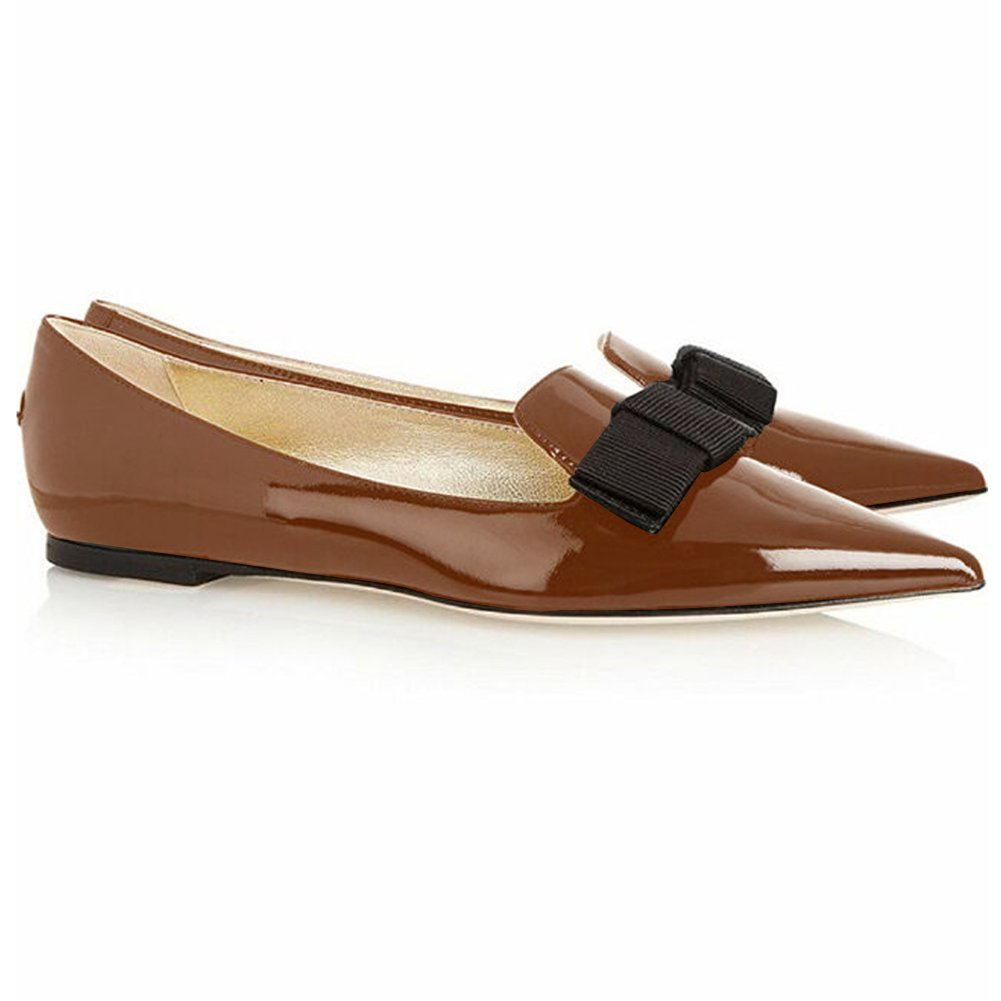 Eldof Women's Flats, Pointed Toe Flats Pumps, Patent Leather Flats Pumps, Walking Dress Office Classic Comfortable Flats B07DHKP9X7 8 B(M) US|Brown