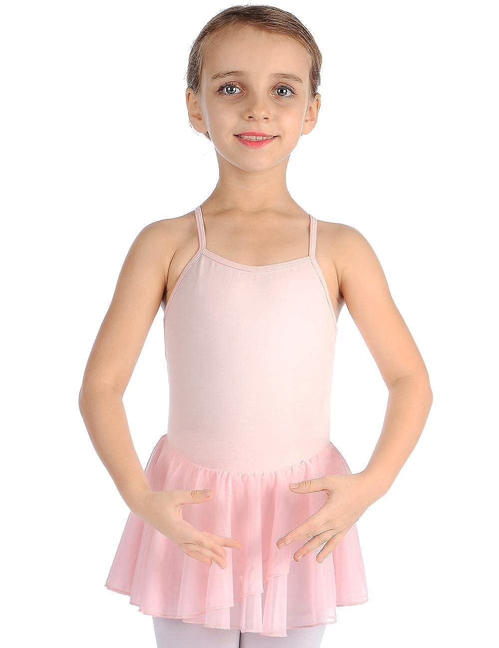 MDNME Girls' Camisole Cotton Leotard Dress