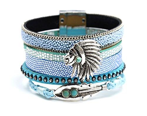 BC1553L - Bracelet Manchette Multi-Rangs Simili Cuir Billes Sequins Strass Tresse Bleu avec Indien et Plume Ethnique - Mode Fantaisie
