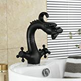Rozinsanitary Dragon Shape Oil Rubbed Bronze Bathroom Centerest Sink Faucet Dual Handles Mixer Tap