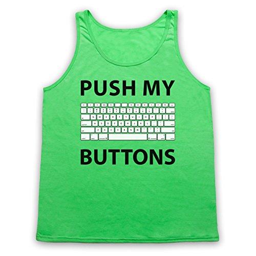 Push My Buttons Computer Geek Tank-Top Weste, Neon Grun, Small
