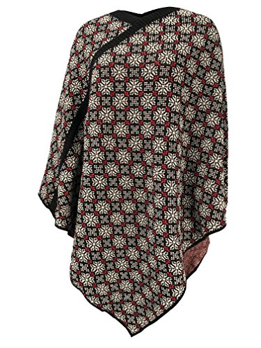 Green 3 Winter Holiday Cable Knit Poncho (Black/Red Nordic Fair Isle Snowflake) - Womens Recycled Cotton Sweater Knit Wrap, Made in The USA (One Size)