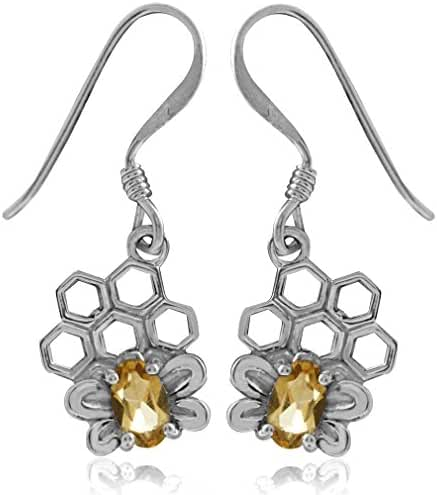 Natural Citrine 925 Sterling Silver Honeycomb Bee Dangle Earrings