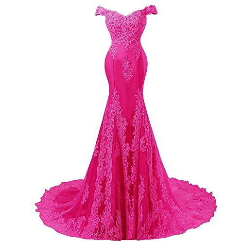 Off Shoulder Mermaid Long Lace Beaded Prom Dress Corset Evening Gowns Fuchsia US 14