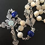 elegantmedical Handmade Sterling 925 Silver Nice Moonlight Mother of Pearl Lapis Lazuli Bead Rosary Catholic Necklace Cross