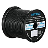 BNTECHGO 16 Gauge Silicone Wire Spool Black 250 feet Ultra Flexible High Temp 200 deg C 600V 16 AWG Silicone Rubber Wire 252 Strands of Tinned Copper Wire Stranded Wire for Model Battery Low Impedance