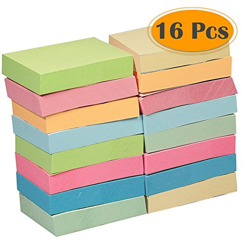 Selizo 16 Pads Mini Sticky Notes, 1 1/2 in x 2 in, 100 Sheets/Pad, 8 Colors