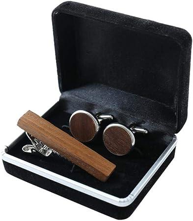 Shah Juego De Pinzas para Corbata De Gemelos De Madera Vintage Conjunto De Nogal Negro Cufflinks Camisa Gemelos: Amazon.es: Hogar