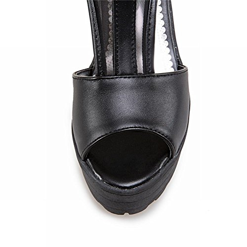 Mee Shoes Damen chunky heels Plateau Mesh Sandalen Schwarz