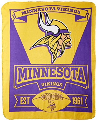 "NFL Minnesota Vikings ""Marque"" Fleece Throw Blanket, 50"" x 60"""
