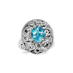 Broche de plata de ley Topacio azul y anillo de diamante - Talla L 1/2 - JewelryWeb