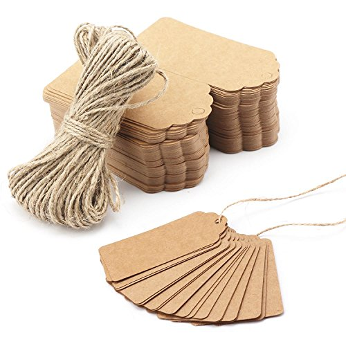 - 200pcs Craft Tags, Segarty 2''x4'' Personalized Card Stock Gift Tag Sign with Holes, Brown Kraft Paper Hang Labels with String for Arts and Crafts, Wedding Birthday Christmas Vintage Sale and Holiday
