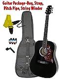 Santa Rosa K555H-B Dreadnought Limited Edition All Black Hum-a-Bird Pickguard-Guitar Package