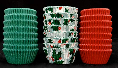 Candy Molds N More Assorted Christmas Candy Cups Size 5 Holly, Red, Green 200 each color/600 - Candy Cups Green