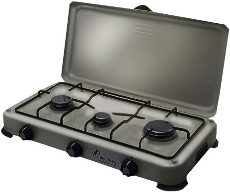 Placa de cocción de gas portátil con 3 fuegos, 4100 W, Silver 3 butano y propano, color gris aluminio – Bruselas de acero inoxidable – Tapa