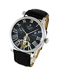 [Fortuna] Mechanical Automatic Watches Hand-rolled Sun and Moon Skeleton Italian Leather Strap Mens Business Casual Luxury Black