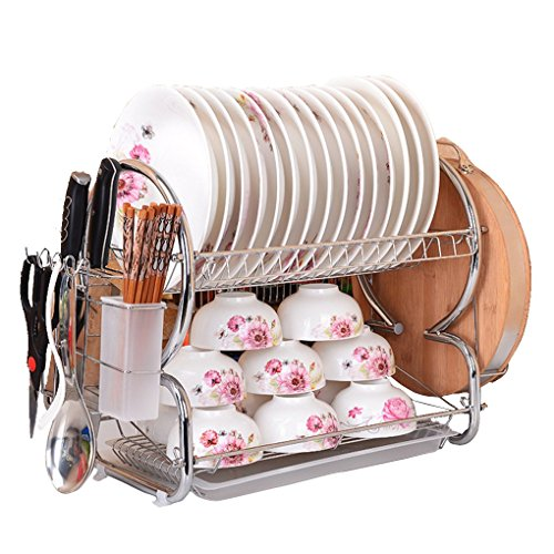 Dish Rack and Dryer Drainboard Set Stainless Steel Dish Drying Rack … (White, 8 Shape) by joyousty