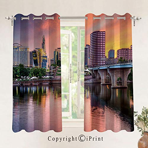 RWNFA Blackout Curtains Thermal Insulated with Grommet Curtains for Bedroom,Water Reflection in Evening Urban City Hartford Connecticut Tranquil Sunset Decorative 26 x 63 inch,2 -