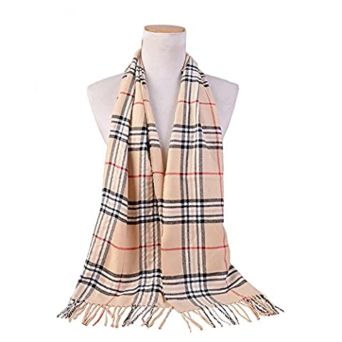Spring fever Stylish Winter Warm Elegant Luxurious Super Soft Pashmina Scarf White Grey Grid (White Pattern Sciarpa)