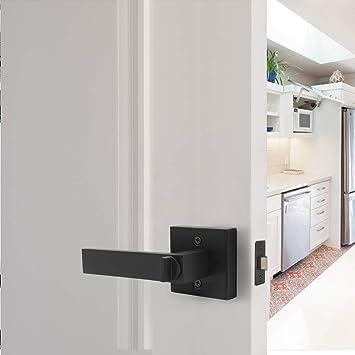 Pomos para puerta interior y mango de baño, de Probrico, sin llave, de color negro, negro: Amazon.es: Bricolaje y herramientas
