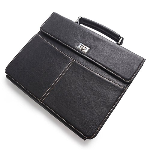 Goatskin Portfolio 3 Ring Binders Briefcase Custom Engraved Padfolio for iPad Pro 10.5/ 9.7 inch/ iPad Air/ Air 2 Genuine Leather Case with Handle Pad Folio Holder Multi-function Organizer Bag Black
