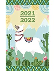 2021-2022: Pocket Planner Small Calendar for Purse | 24 Month January up to December | llama Design
