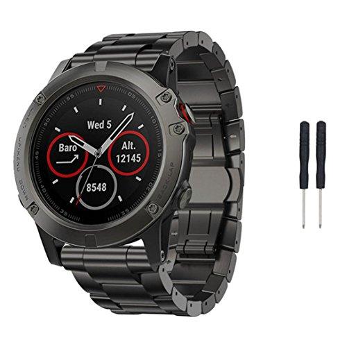 Titanium Steel Bracelet Wrist Strap Smart Watch Band For Garmin Fenix 5X GPS (Black)](Titanium Watch Bands)