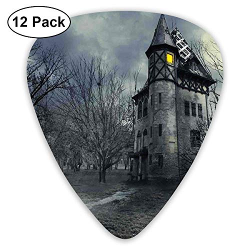 Guitar Picks 12-Pack,Halloween Design With Gothic Haunted House Dark Sky And Leafless Trees Spooky Theme -