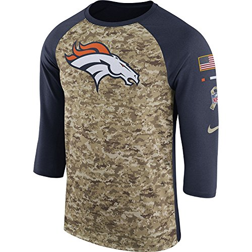 Nike Men's Denver Broncos Dry Tee Legend 3/4 STS Raglan Shirt College Navy/Camo/White Size Large