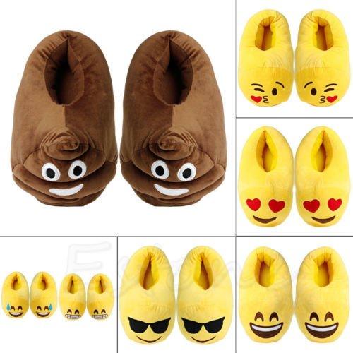 LUOEM Pantofole Peluche Ciabatte Invernali Pantofole da Casa Morbide Calde Antiscivolo Donna Uomo 28.5cm (Divertente Cacca Faccia Sorridente)