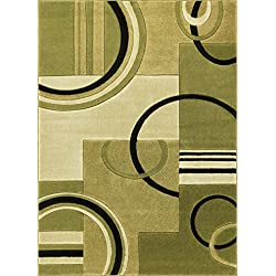 "Echo Shapes & Circles Light Green Modern Geometric Comfy Casual Hand Carved Area Rug 5x7 ( 5'3"" x 7'3"" ) Easy Clean Stain Fade Resistant Abstract Contemporary Thick Soft Plush Living Room Rug"