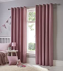 "PLAIN PINK 100% COTTON FULLY LINED 66"" X 72"" - 168CM X 183CM RING TOP CURTAINS DRAPES"