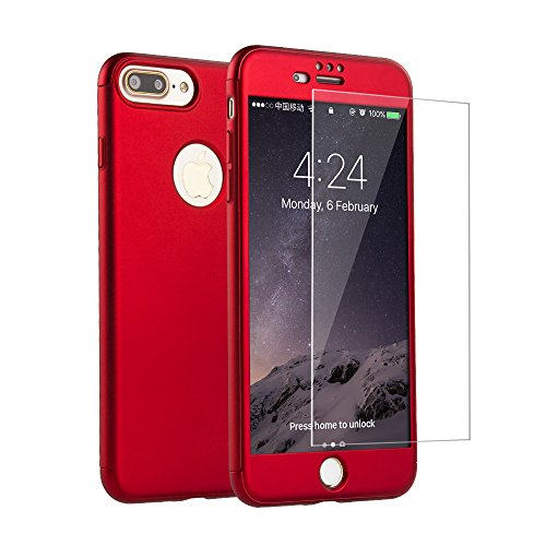 iPhone 7 Plus Case, i.Valux [Perfect Fit] 360 Degree All-around Ultra Thin Full Body Coverage Protection Dual Layer Hard Slim Case + Tempered Glass Screen Protector For iPhone 7 Plus Red