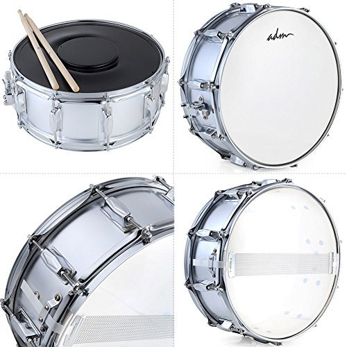 ADM Student Snare Drum Set with Case, Sticks, Stand and Practice Pad Kit, Shiny Silver by ADM (Image #6)