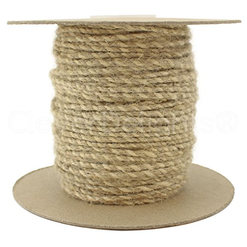 CleverDelights Jute Twisted Twine - 50 Yards - Natural and