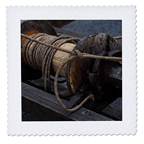 (3dRose Alexis Photography - Objects Misc. - Detail of a Vintage Wooden Pulling Hoist with a Bundle of Ropes - 25x25 inch Quilt Square (qs_295021_10))