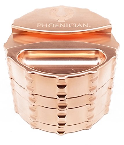 Phoenician Elite Grinder - Large 4 Piece - Copper Plated with Papers Holder by Phoenician