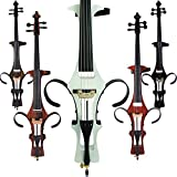 Leeche Handmade Professional Solid Wood Electric Cello 4/4 Full Size Silent Electric Cello-White
