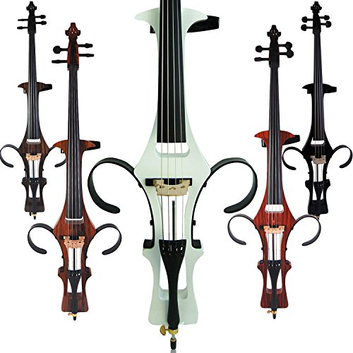 Leeche Handmade Professional Solid Wood Electric Cello 4/4 Full Size Silent Electric Cello-White by Leeche