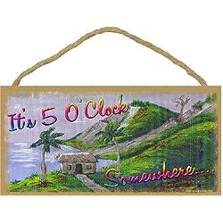 It's 5 O'clock Somewhere Tropical Cabin Wall Decor Sign Pool Tiki Bar 5x10