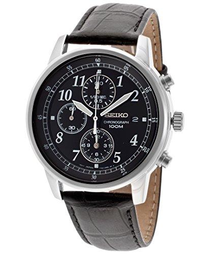 Seiko Men s Chronograph Black Genuine Leather Black Dial