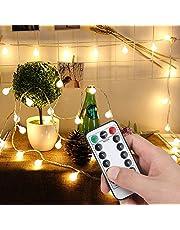 Lichtketting kleurrijk 50 leds Globe lichtketting voor buiten, lichtketting op batterijen, binnen en buiten lichtketting gloeilamp, kerstverlichting voor Kerstmis, bruiloft, feest, kerstboom