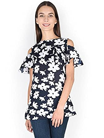 45d1e652d3df5b DEAR DARLING Women s Off Cold Shoulder with Ruffles Black Crepe TOP   Amazon.in  Clothing   Accessories