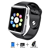 Axceed A1 Smart Watch, Bluetooth Touch Screen Smartwatch Phone With Camera Mic Speaker Texting Pedometer Social Media Notifications Sleep Monitor Music Player For Android Samsung Huawei iPhone - Black